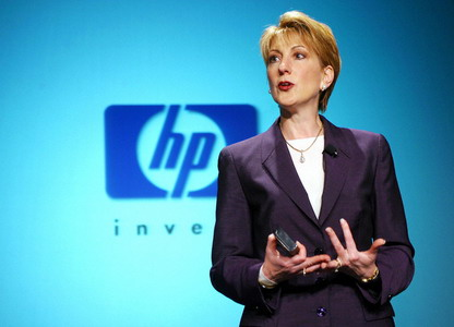 ۰۷ May 2002, Cupertino, California, United States --- Hewlett Packard CEO Carly Fiorina speaks during a news conference at HP offices in Cupertino to detail the integration of the former Compaq Computer Corp., following a fierce proxy fight. --- Image by © Kim Kulish/Corbis